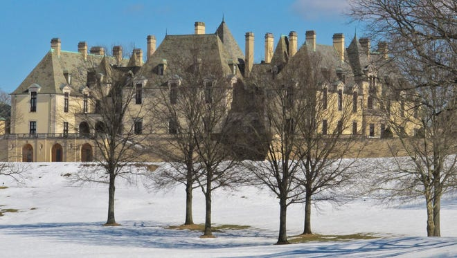 Snow covers the grounds of the Oheka Castle on Feb. 24, 2014, in Huntington, N.Y.
