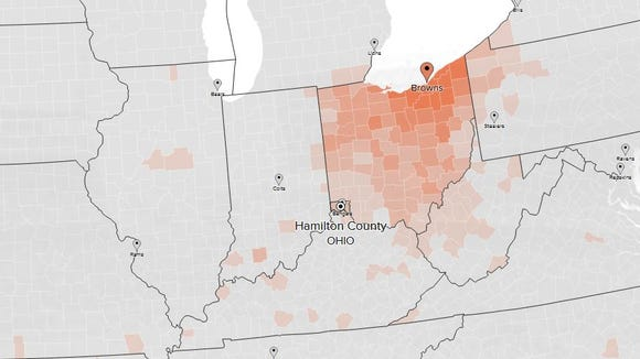 Browns fans in Ohio based on Twitter followers.
