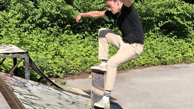 Beau Guenther, of Vermont, enjoys an afternoon at the skate park on Factory Pasture Lane in Kennebunk on Tuesday.