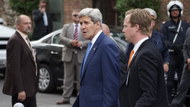 US Secretary of State John Kerry left Coburg Palais after his bilateral meeting with Iran's Foreign Minister Javad Zarif in Vienna, Monday, July 14.