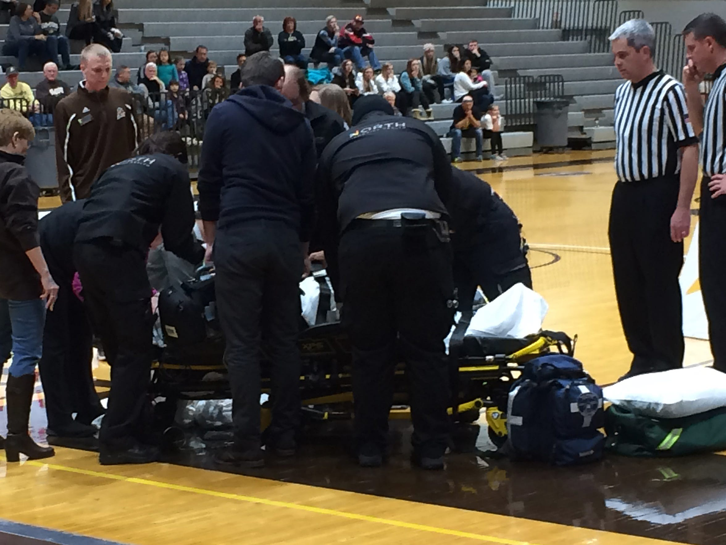 Jeff Schroder was treated by athletic trainers and