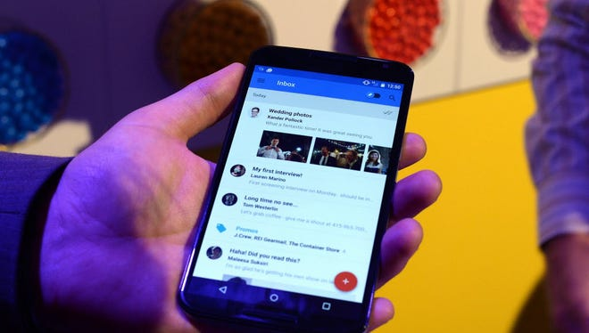 A Nexus 6 android phone is shown during a media preview in New York.