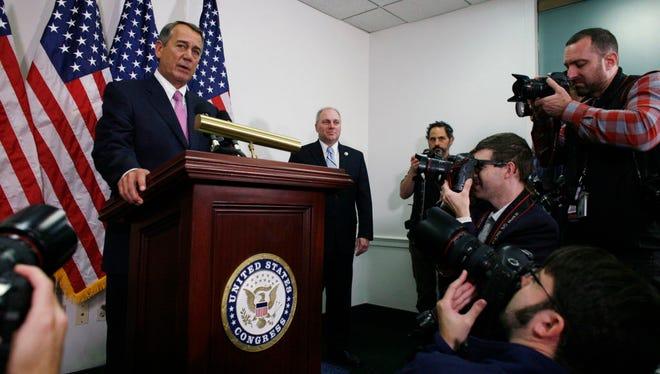 Outgoing House Speaker John Boehner of Ohio and  House Majority Whip Steve Scalise of Lousiana on Oct. 27, 2015.