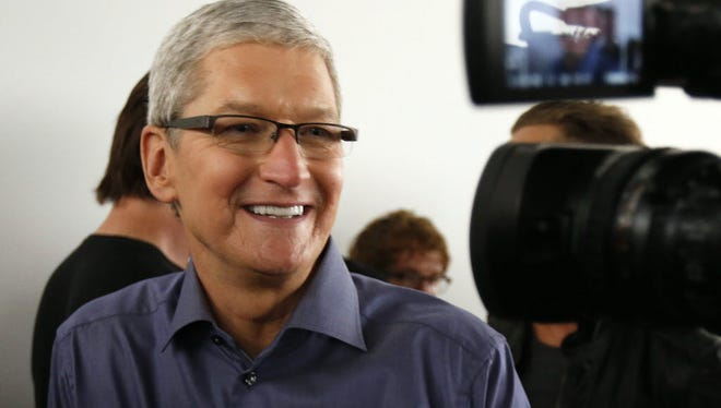 Apple CEO Tim Cook at a company product event Sept. 9, 2015, in San Francisco.