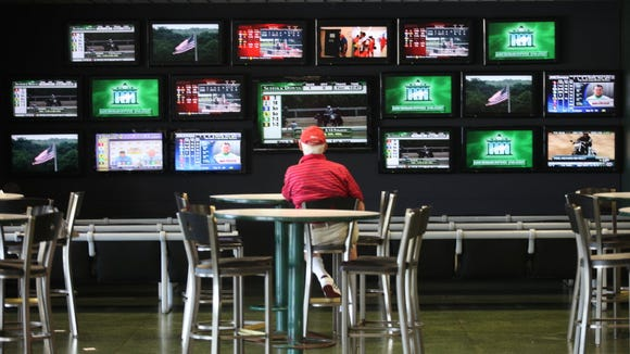Horse-racing monitors at  Monmouth Park in Oceanport,