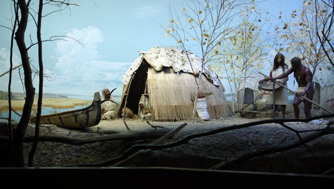 The wild-rice threshing exhibit, depicting a wild-rice camp on the shore of a northern Wisconsin lake in autumn, at the Milwaukee Public Museum.