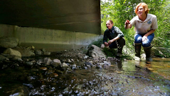 FILE - In this June 22, 2015, file photo, Julie Henning, right, division manager of the Washington Dept. of Fish and Wildlife ecosystem services division habitat program, and Melissa Erkel, left, a fish passage biologist, look at a wide passageway for the north fork of Newaukum Creek near Enumclaw, Wash. The Supreme Court is leaving in place a court order that forces Washington state to restore salmon habitat by removing barriers that block fish migration. The justices divided 4-4 Monday, June 11, 2018, in the long-running dispute that pits the state against Indian tribes and the federal government. (AP Photo/Ted S. Warren, File)