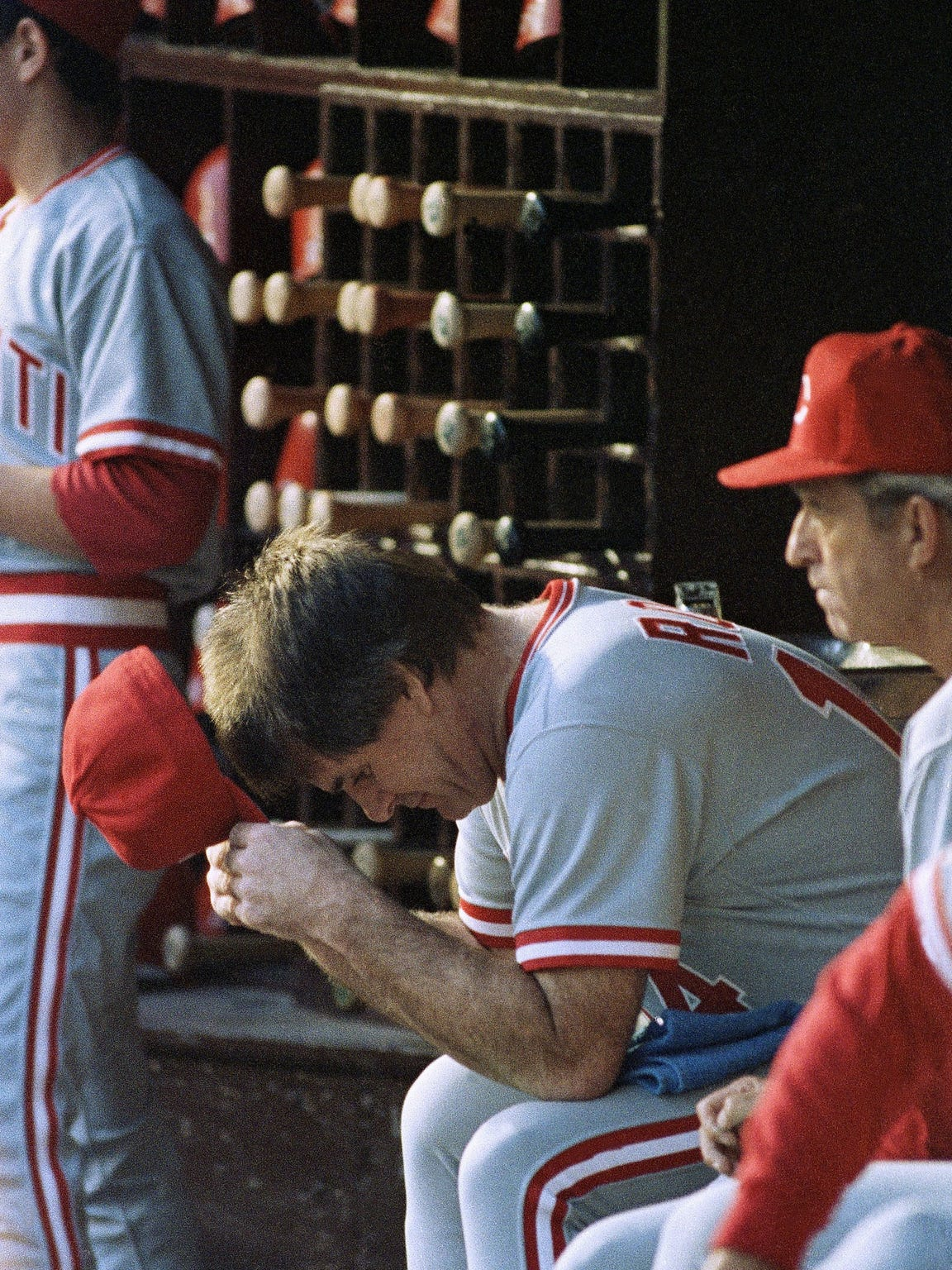 Then-Cincinnati Reds manager Pete Rose in the dugout
