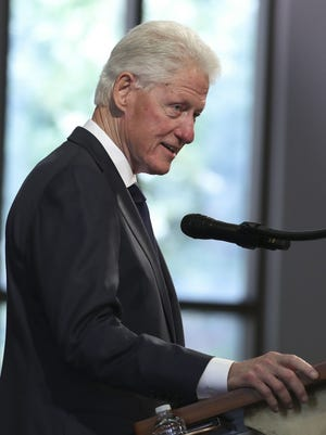 Former President Bill Clinton, seen here at the funeral service for the late Rep. John Lewis, D-Ga., in Atlanta July 30, spoke last night at the Democratic National Convention.