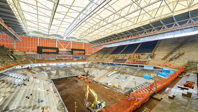 An interior view of the new Louis Armstrong Stadium at the Billie Jean King National Tennis Center in Flushing, New York on May 17.