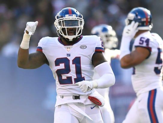 New York Giants safety Landon Collins wearing uniform number 21.