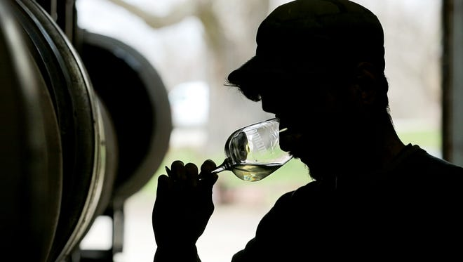 Ben Riccardi, owner/winemaker of Osmote Wine, sniffs a Chardonnay wine to check on the fermentation.