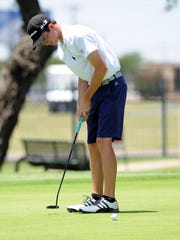 Merkel's Colton Hilburn watches as his putt on the No. 13 green goes into the hole during the second round of the AJGA Folds of Honor Junior Championship hosted by Bob Estes at the Abilene Country Club on Wednesday, July 18, 2018.