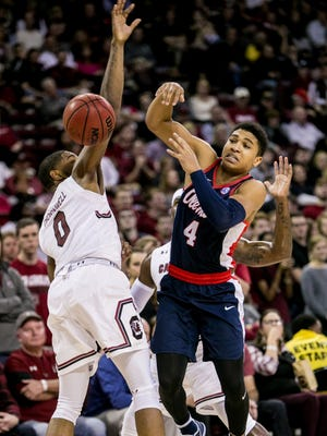 Ole Miss freshman Breein Tyree (4) was held to six points and made 2 of 9 field goals against South Carolina.