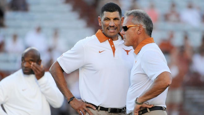 Jay Norvell, shown while the receivers coach at Texas, is a finalist for the Wolf Pack coaching job.
