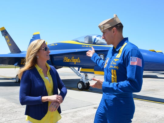 One of Pensacolaâ??s star attractions is the famed Navy Blue Angels.  The showâ??s hostess, Colleen Kelly, was delighted to visit with one of the team members, Lt. Cmdr. John Hiltz, while filming the travel show.