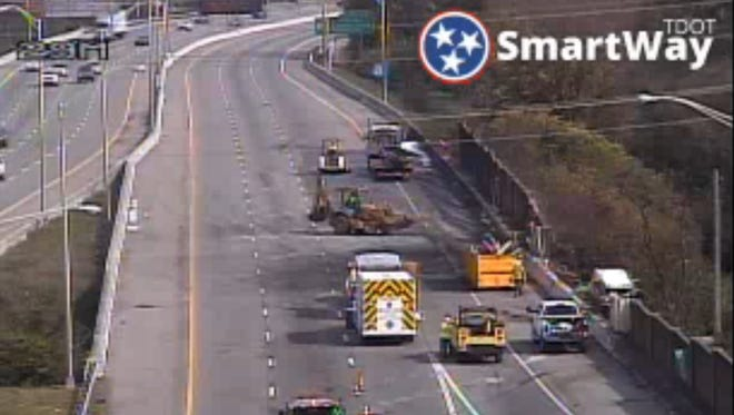 Work continues Saturday morning, Oct. 21, to clear an early morning wreck on Interstate 40 east at I-440. A cargo fire caused the interstate to be closed. The interstate is estimated to be open by 4 p.m.