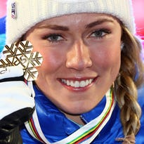 Mikaela Shiffrin wins third world title in slalom by huge margin