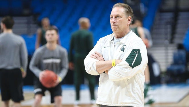 Mar 16, 2017; Tulsa, OK, USA; Michigan State Spartans head coach Tom Izzo during practice at BOK Center.