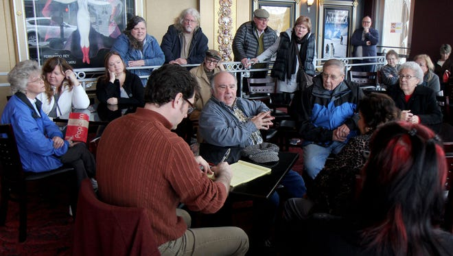 Statesman Journal culture reporter Tom Mayhall Rastrelli and entertainment reporter Carlee Wright lead a C.A.F.E. — community arts for everyone — discussion after a showing of the film 'Big Eyes' at Salem Cinema.