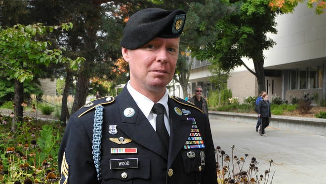 Master Sergeant Buss Wood, Jr. poses for a photo before speaking to UW Oshkosh students on Sept. 18.