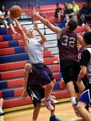 Cedar Crest rising sophomore Logan Horn rises for a
