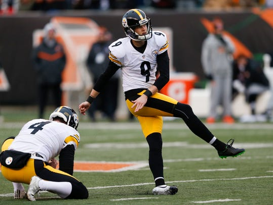 FILE - In this Sunday, Dec. 18, 2016 file photo, Pittsburgh Steelers Chris Boswell (9) kicks a field goal alongside punter Jordan Berry (4) in the first half of an NFL football game against the Cincinnati Bengals in Cincinnati.  Building a Super Bowl team starts and ends with a championship-caliber quarterback, but don't forget the value of low-cost contributors. Undrafted players and late-round picks who blossom into key starters are important ingredients in the salary cap era of the NFL. (AP Photo/Gary Landers, File)