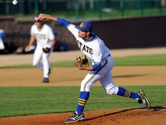Blake Treinen, shown here pitching for SDSU in 2011,
