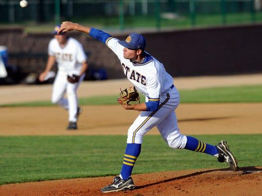 Blake Treinen, shown here pitching for SDSU in 2011,