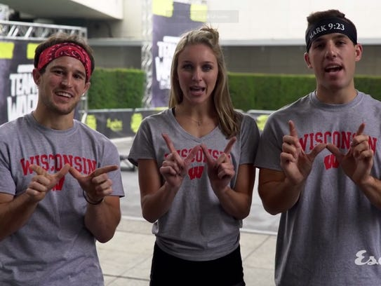 """University of Wisconsin students Zack Kemmerer (left), Taylor Amann (center) and Andrew Philibeck represented the Badgers on """"Team Ninja Warrior: College Madness,"""" winning the inaugural event over 15 other schools."""
