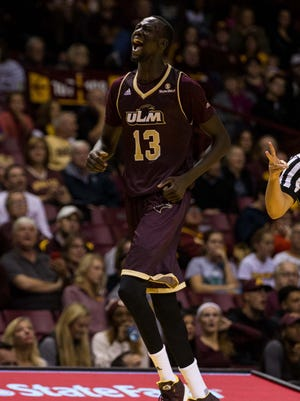 In just two years, senior forward Majok Deng (13) developed into the face of ULM's basketball program and one of the top scorers in the Sun Belt Conference.