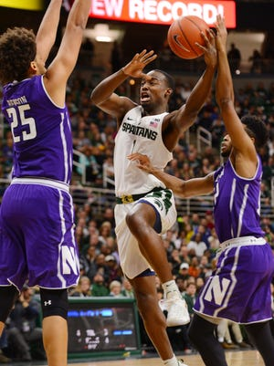 Freshman guard Joshua Langford goes up to the basket during the game against Northwestern on Friday, Dec. 30, 2016 at Breslin Center. The Spartans won, 58-50.