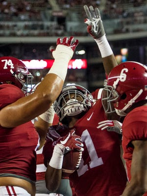 Montgomery native Henry Ruggs III (11) has caught a touchdown in Alabama's last two games.