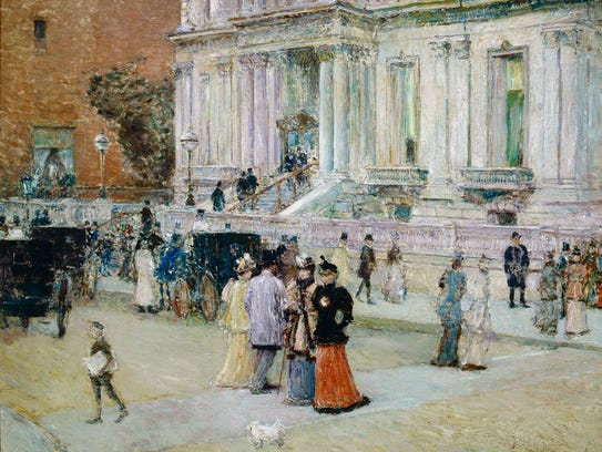 Childe Hassam's oil on canvas, The Manhattan Club,