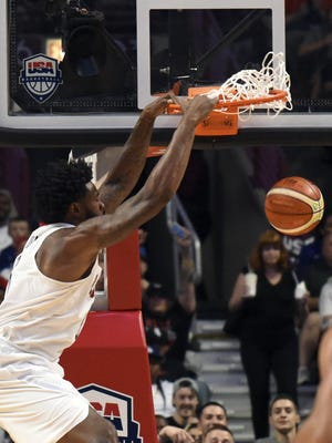 USA center DeAndre Jordan (6) dunks against the Venezuela team in the second half during an exhibition basketball game at the United Center. Team USA won 80-45.