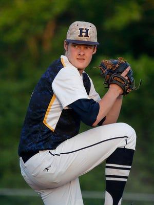 Haslett's Luke Sleeper winds up for a pitch Tuesday, May 24, 2016, at Kircher-Municipal Park.