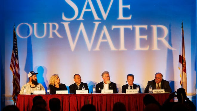 "Panelists on the News-Press Save Our Water Summitt held at the  Sanibel Harbour Marrito Resort & Spa on Wednesday speak.  From left is Daniel Andrews, Captains for Clean Water, Colleen DePasquale, Fort Myers Chamber of Commerce, John Lai Lee County Hotel Association, Gene McAvoy, Hendry County Extension Director, David Schuldenfrei, Sanibel Island Realtor and Malcom ""Bubba"" Wade, U.S. Sugar."