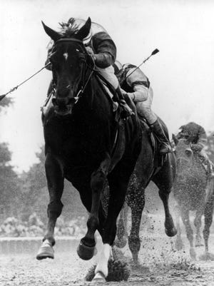 Jockey Jacinto Vasquez rides Ruffian over the finish line to win the Coaching Club American Oaks at Belmont Park on June 21, 1975.