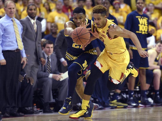 South region, No. 5 seed: Maryland, 25-8. Terrapins guard Melo Trimble (2) goes after the ball in a game against Michigan in February.