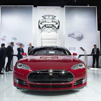 A Tesla Motors Inc. Model S P85D vehicle is displayed