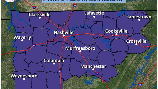 A freeze warning is in effect from Sunday at midnight until 9 a.m.