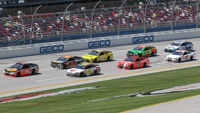 Sprint Cup drivers hit the track at Talladega Superspeedway, NASCAR's biggest and fastest track.