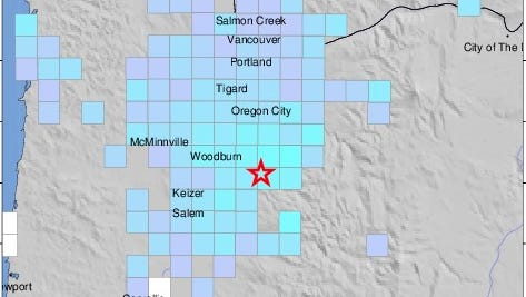 A magnitude 4.0 earthquake struck southwest of Molalla at 5:24 p.m. Wednesday, according to the Pacific Northwest Seismic Network.