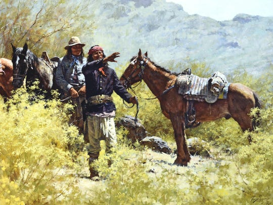 """""""The Scouts of General Crook"""" will be among the Howard Terpning paintings on display at the Rockwell Museum."""