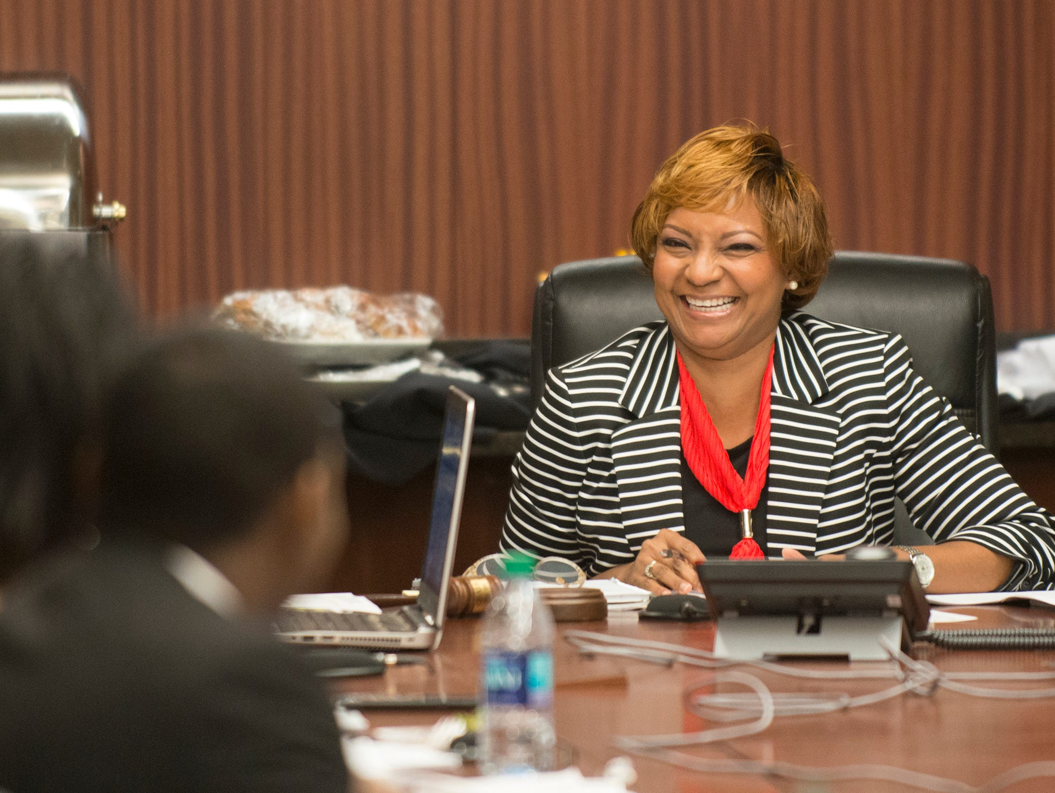 Angela McKenzie, ASU Board vice chair, laughs during a committee meeting on Wednesday, April 12, 2017, in Montgomery, Ala.