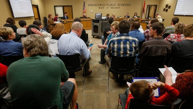 In March 2018, a large group attended the Springfield school board meeting regarding the proposed closure of an elementary school. It is not rare for individuals to sign up to talk to the board but, typically, they sign up in smaller numbers.