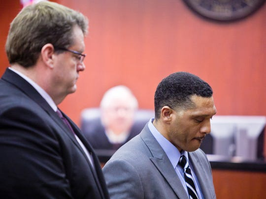 Mark Goudeau, right, talks to the jury during his sentencing