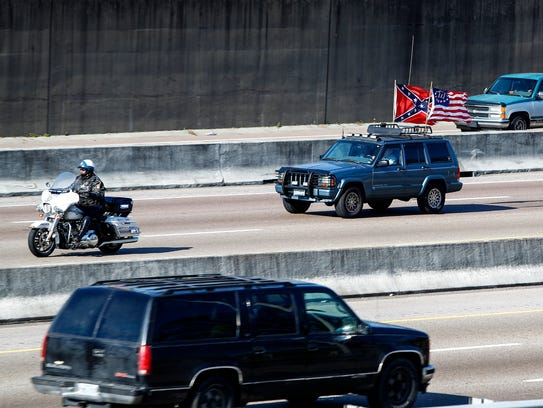 January 06, 2018 - Police escort leads a convoy of