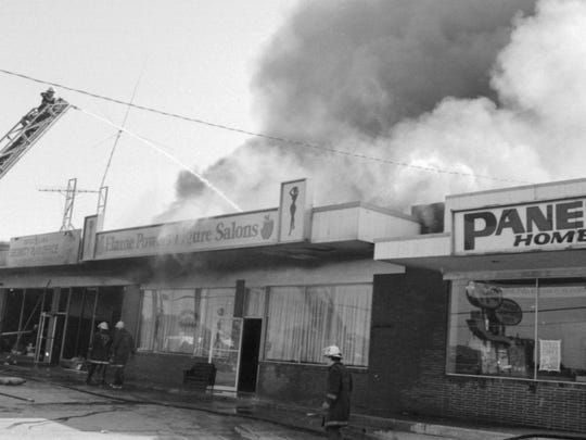 Fire at Radio Shack and surrounding businesses in 1978.