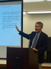 State climatologist David Robinson testifies at a public hearing on the state's impending drought.